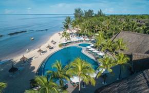 Picture beach, tropics, palm trees, pool, resort, The Indian ocean, Mauritius, Mauritius, Sands Suites Resort & …