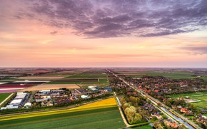 Picture the sky, clouds, trees, field, home, horizon, panorama, channel, Netherlands, the view from the top, …