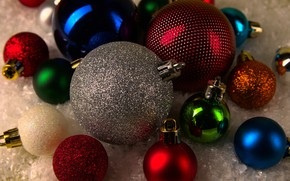 Picture winter, balls, holiday, balls, Christmas, New year, colorful, a lot, different, bokeh, Christmas decorations, Christmas …