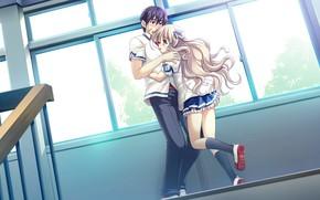 Picture girl, anime, art, guy, two, the patch, hugs, Ryuusei Kiseki -Shooting Probe