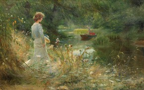 Picture British painter, British painter, oil on canvas, Backwater, Charles William Willie, Charles William Wyllie, The …