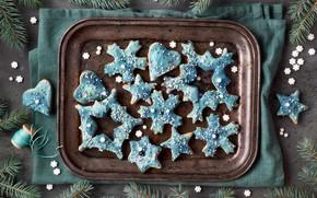 Picture snowflakes, Christmas, cookies, tray, decor, glaze, Anya Ivanova