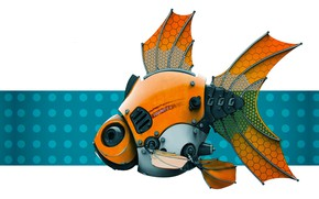 Picture robot, fish, Stephen Anderson, FishBot 2.0 - Render