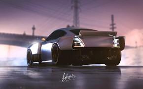 Picture Night, Machine, Car, Art, Art, Rendering, Silver, GTA V, GTA 5, Game Art, by Timothy ...