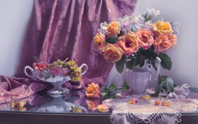 Picture flowers, berries, roses, petals, grapes, fabric, vase, still life, napkin, drape, Valentina Fencing