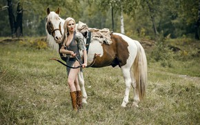 Picture girl, horse, warrior, bow