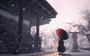 Picture girl, snow, umbrella, temple
