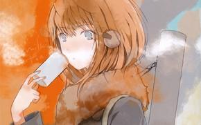 Picture hand, headphones, red, schoolgirl, Cup, grey eyes, tube, haruaki fuyuno, fur collar