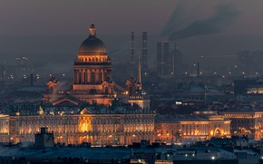 Picture night, the city, building, home, Peter, lighting, Saint Petersburg, the dome, St. Isaac's Cathedral, Руслан …