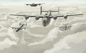 Picture clouds, art, flight, bombers, USAF, Consolidated, B-24 Liberator