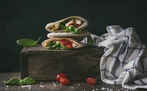 Picture food, cheese, pita, Basil, Natasha Breen, tomatoes-cherry