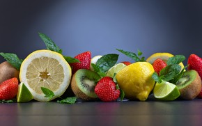 Picture lemon, kiwi, strawberry, lime, fruit