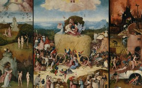 Picture Hieronymus Bosch, right wing - Hell, 1490-1500, The triptych 'the hay', Left wing - Paradise …