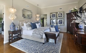 Picture room, bed, interior, mirror, bedroom, lamps