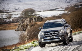 Picture Mercedes-Benz, pickup, on the road, 2017, X-Class, dark gray, UK-version