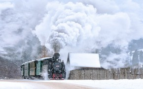 Picture winter, retro, train, the engine, locomotives, the smoke from the chimney, крестьянин торжествуя на паровозе …