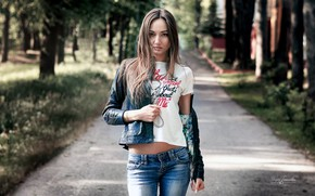 Wallpaper girl, long hair, trees, brown hair, photo, photographer, blue eyes, park, model, bokeh, lips, jeans, ...