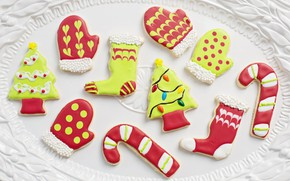 Picture winter, holiday, toys, cookies, Christmas, white background, New year, socks, herringbone, light background, figures, dessert, …