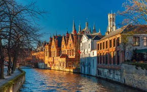 Picture home, channel, Belgium, Bruges