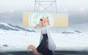 Picture girl, snow, mountains, poster, Fox, ears
