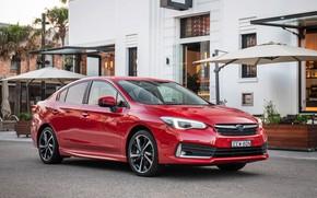 Picture car, machine, lights, the building, Subaru, red, sedan, side, red car, wheel, Subaru Impreza, red …
