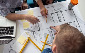 Picture architecture, engineering, plans, teamwork