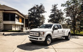Picture trees, house, Ford, pickup, 4x4, 2018, 440 HP, Super Duty, F-450, Limited, V8, 6.7 L., …