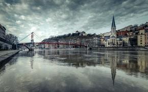 Picture bridge, river, France, Lyon