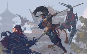 Picture sword, fantasy, game, weapon, fight, battle, League of Legends, samurai, digital art, artwork, warriors, fantasy …