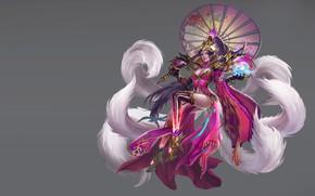 Picture the game, umbrella, art, tail, costume design, LIU Mingxing