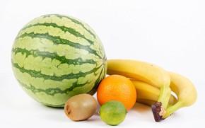 Picture watermelon, kiwi, bananas, white background, lime