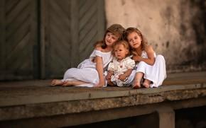 Picture children, wall, girls, child, door, girl, baby, kids, sitting, girlfriend, white dresses, barefoot