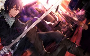 Picture sword, anime, art, guy, A Homeless God, Noragami, Yato