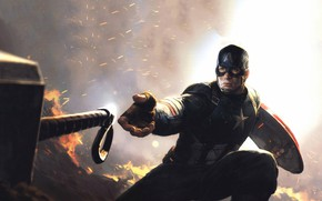 Picture fire, hammer, hero, male, Captain America, Avengers, Chris Evans