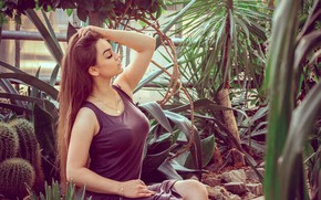 Picture pose, model, makeup, dress, hairstyle, cacti, brown hair, beauty, sitting, greenhouse, he closed his eyes, …