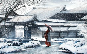 Picture winter, girl, umbrella, yukata, Epona