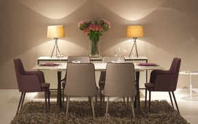 Picture flowers, table, carpet, chairs, interior, vase, dining room