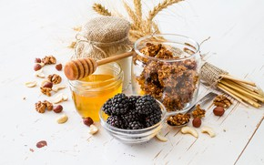 Picture honey, nuts, BlackBerry, yogurt, granola