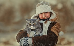 Picture winter, cat, animal, hat, girl, coat, Tomcat, mittens, teen, Ксения Лысенкова