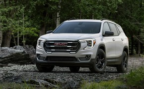 Picture white, forest, trees, nature, gmc, terrain, 2022, at4