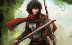 Picture anime, scarf, art, Shingeki no Kyojin, Attack of the titans, The invasion of the giants, …