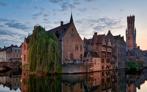 Picture the city, reflection, tree, building, home, the evening, channel, Belgium, twilight, Bruges
