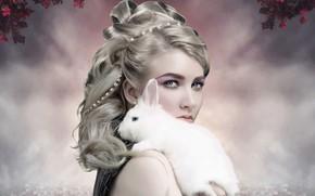 Picture look, girl, rabbit
