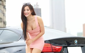 Picture auto, look, smile, Girls, BMW, Stella, beautiful girl, beautiful dress, posing on the car