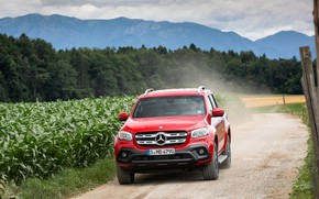 Picture red, Mercedes-Benz, pickup, crops, primer, 2018, X-Class