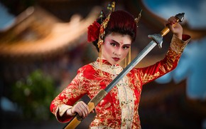 Picture look, pose, sword, Asian, paint
