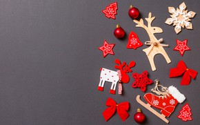 Picture toys, Christmas, holiday, grey background