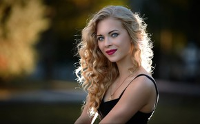 Picture girl, sexy, eyes, model, pretty, lips, face, hair, beautiful girl, blonde, pose, Sergey Baryshev