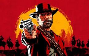 Picture gun, hat, horse, cartridges, cowboys, Red Dead Redemption 2, Arthur Morgan