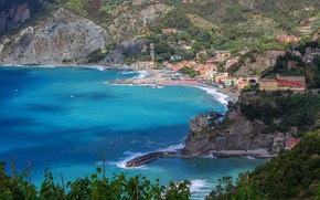 Picture sea, trees, mountains, rocks, shore, home, Italy, Bay, the view from the top, Cinque Terre, …